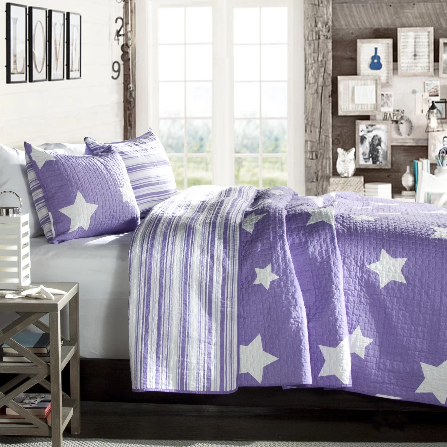 Purple and White Reversible Star Print Coverlet  Purple