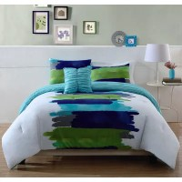 Style 212 Watercolor Blue Comforter Set in Blue & Green ...