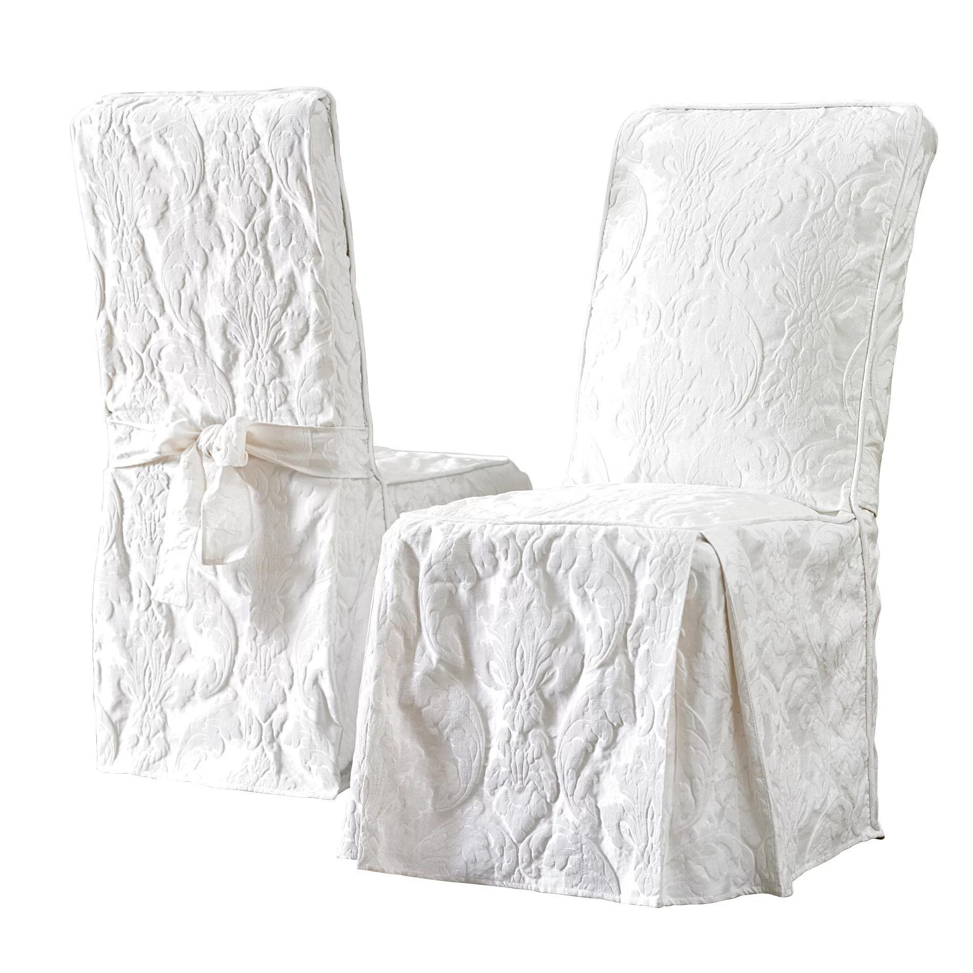 dining chair covers bed bath and beyond herman miller desk sure fit matelasse damask long slipcover reviews