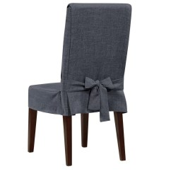 Linen Chair Covers Dining Room Outdoor Plastic Chairs Sure Fit Shorty Slipcover And Reviews Wayfair