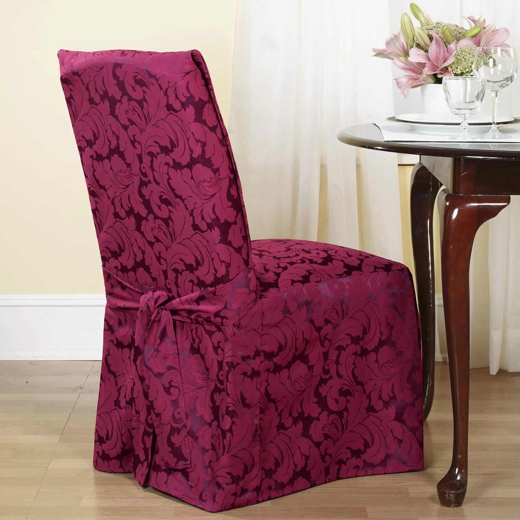 chair covers next day delivery best posture for computer sure fit scroll classic dining skirted slipcover