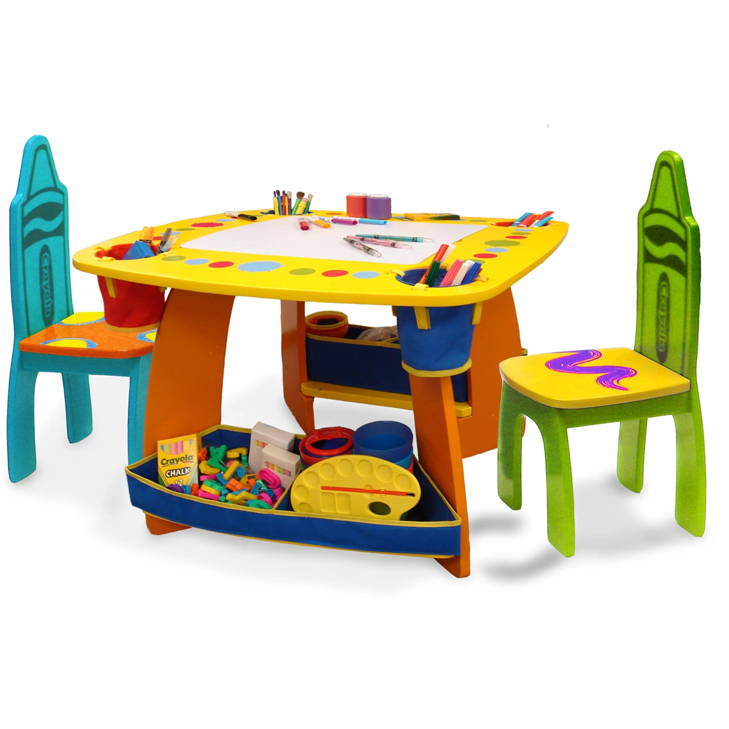 Wooden Kids Table And Chairs Grow 39n Up Crayola Wooden Kids 3 Piece Table And Chair Set