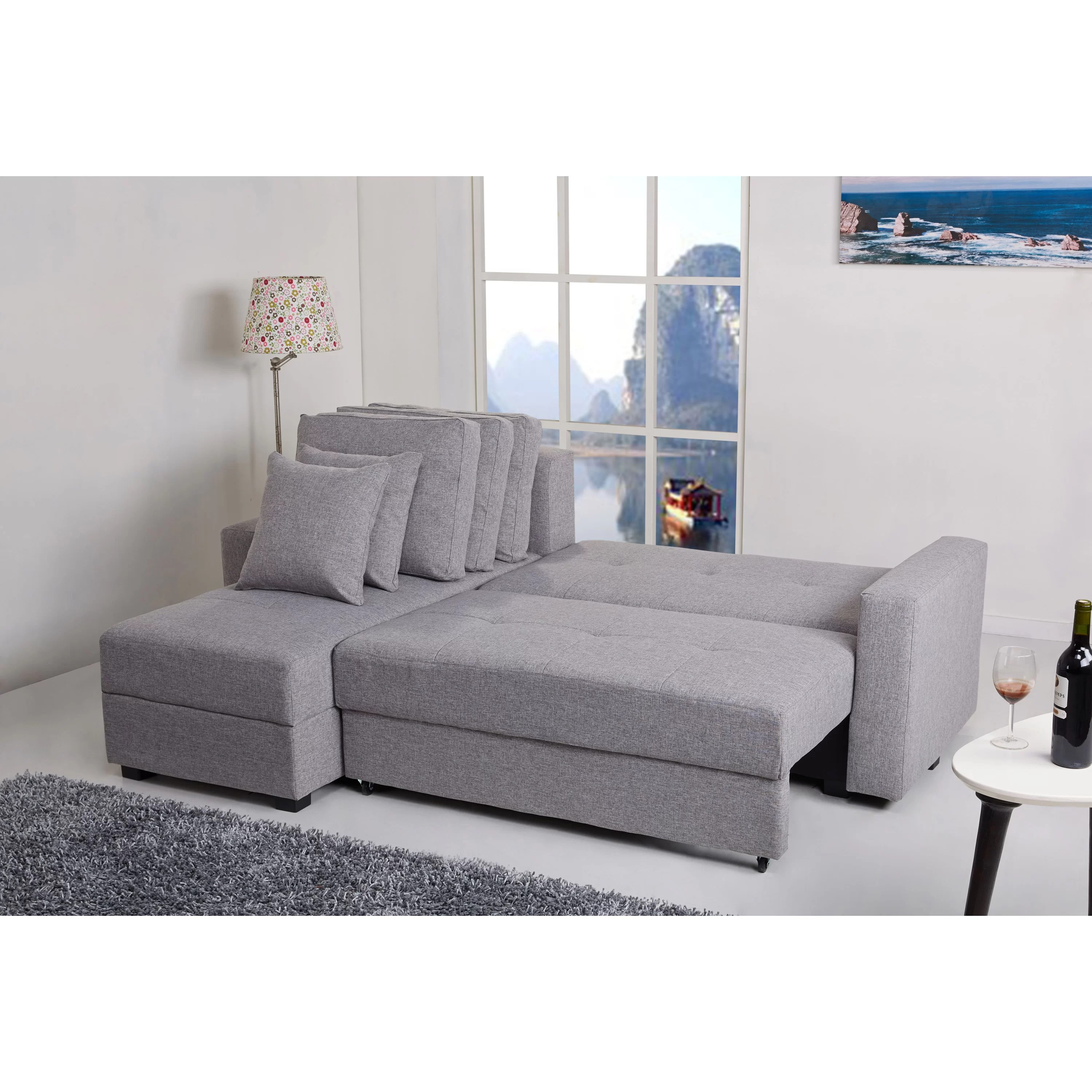 aspen convertible sectional storage sofa bed everest 3 piece with and 2 chaises gold sparrow reversible chaise reviews