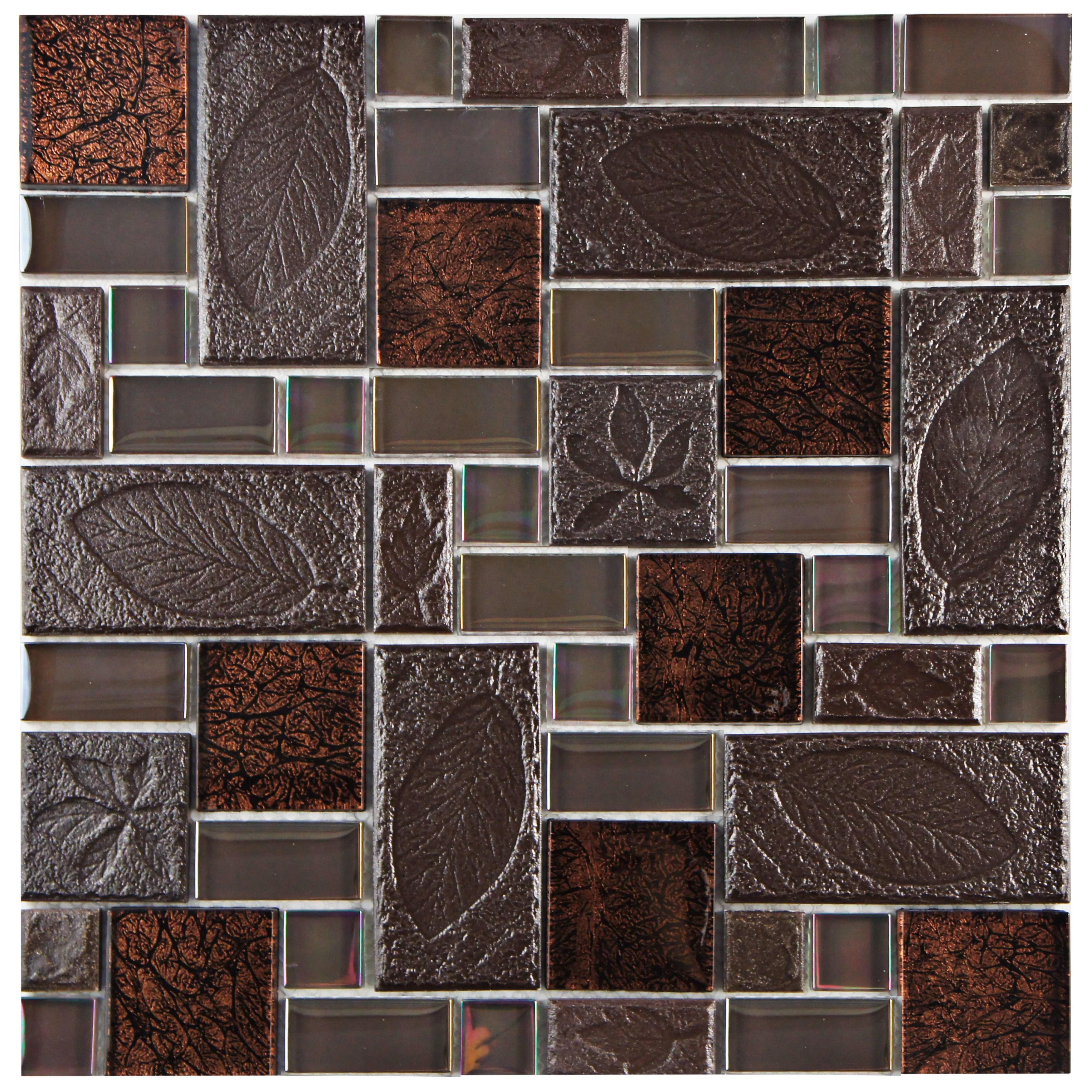 "Elitetile Eden 1175"" X 1175"" Glass And Stone Mosaic Tile"