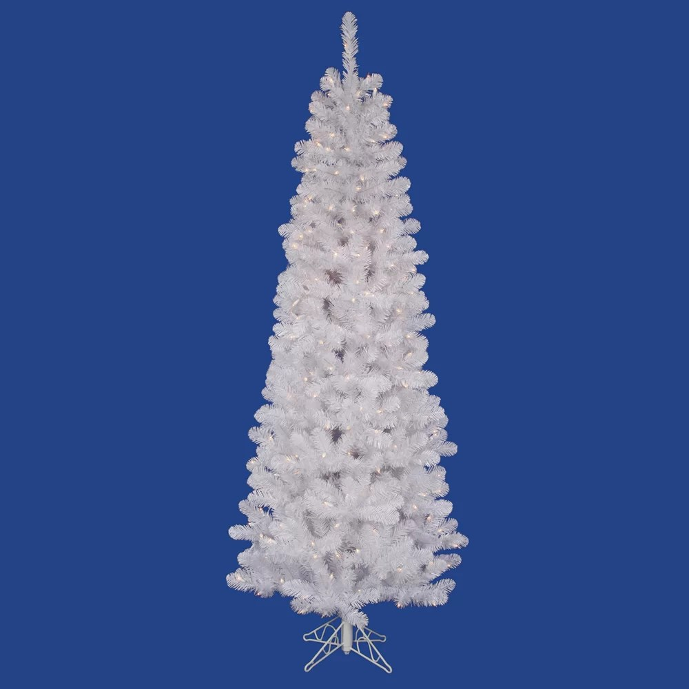 Pencil Artificial Christmas Tree Clear Lights