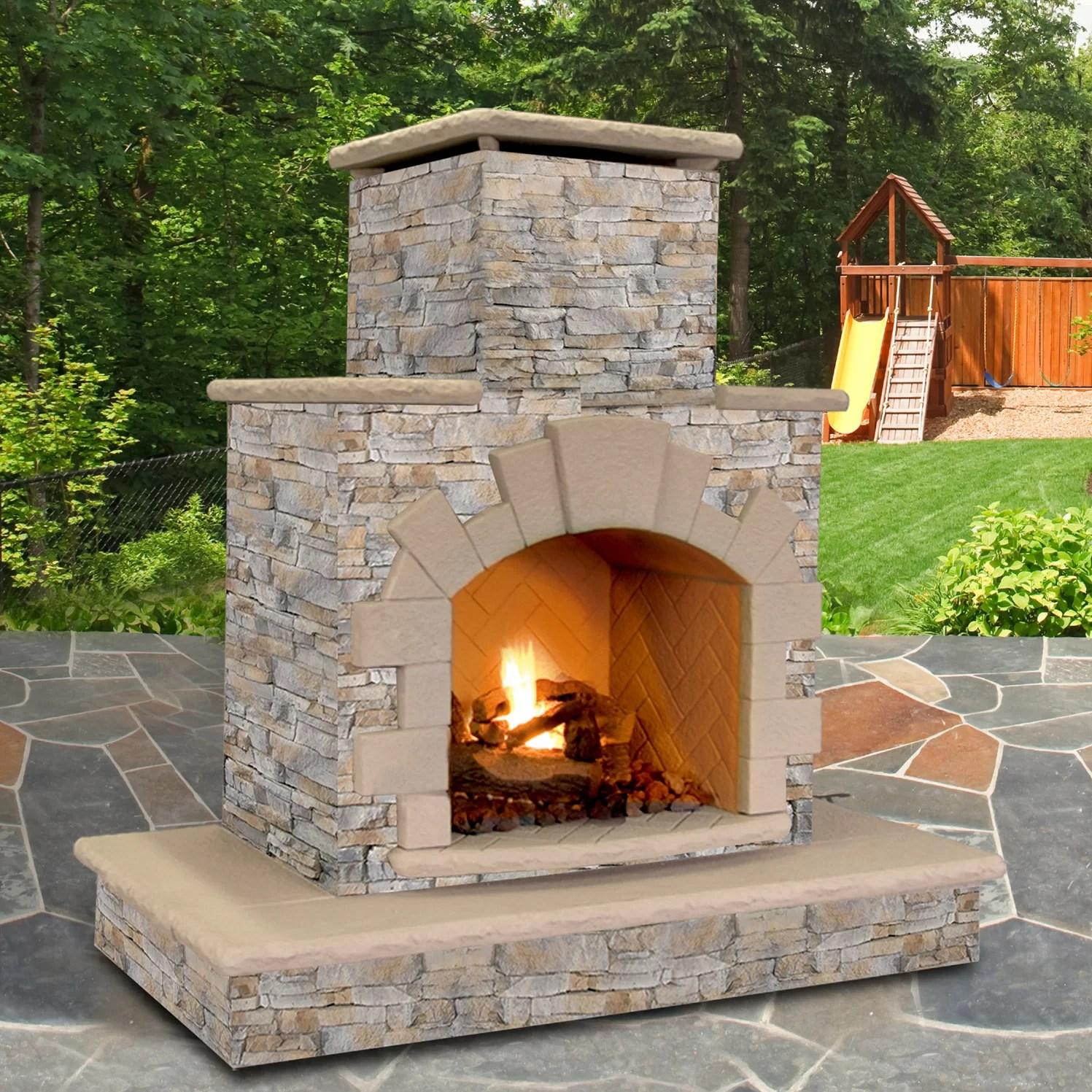 CalFlame Natural Stone Propane  Gas Outdoor Fireplace  Reviews  Wayfair