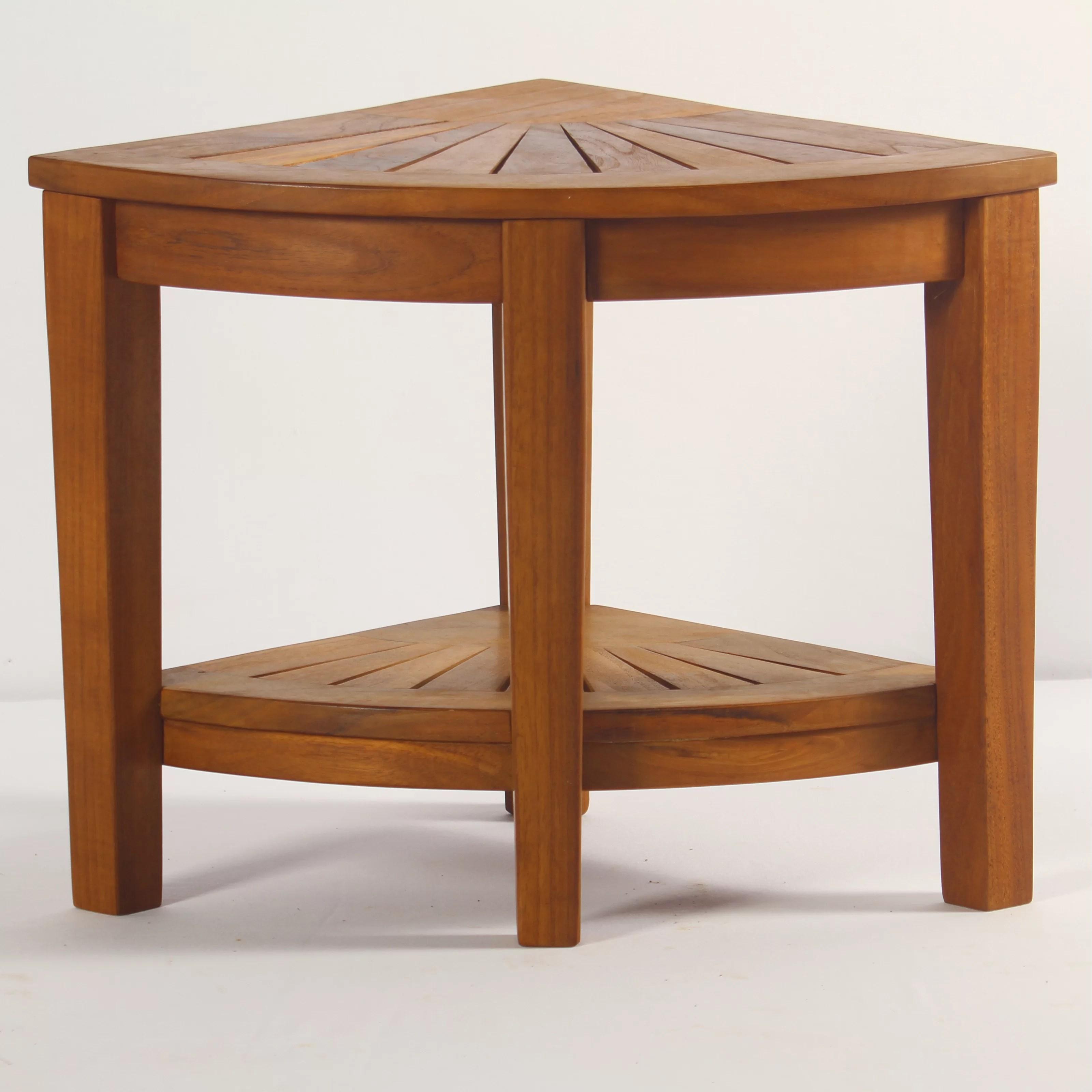 corner shower chair gaming reviews canada aqua teak spa stool with shelf