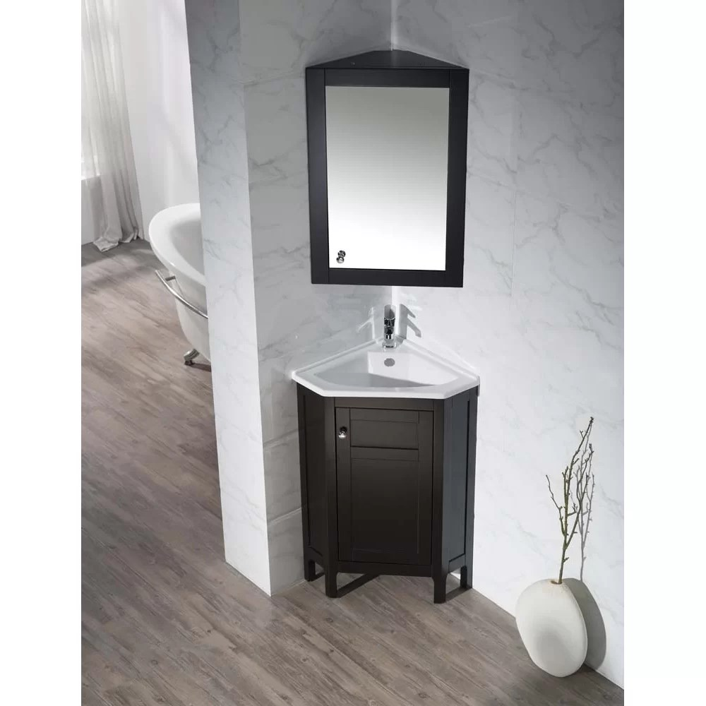 Home Loft Concepts 2425 Single Corner Bathroom Vanity Set with Mirror  Reviews  Wayfair