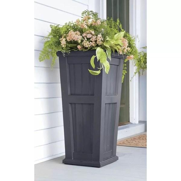 Plow & Hearth Lexington Tall -watering Plastic Pot Planter