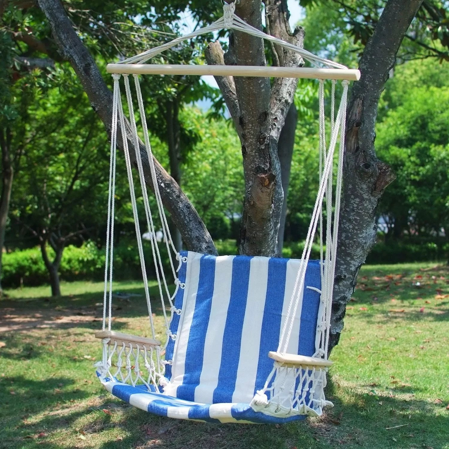 hanging chair tree best chairs geneva espresso wood glider reviews adecotrading naval cotton fabric canvas