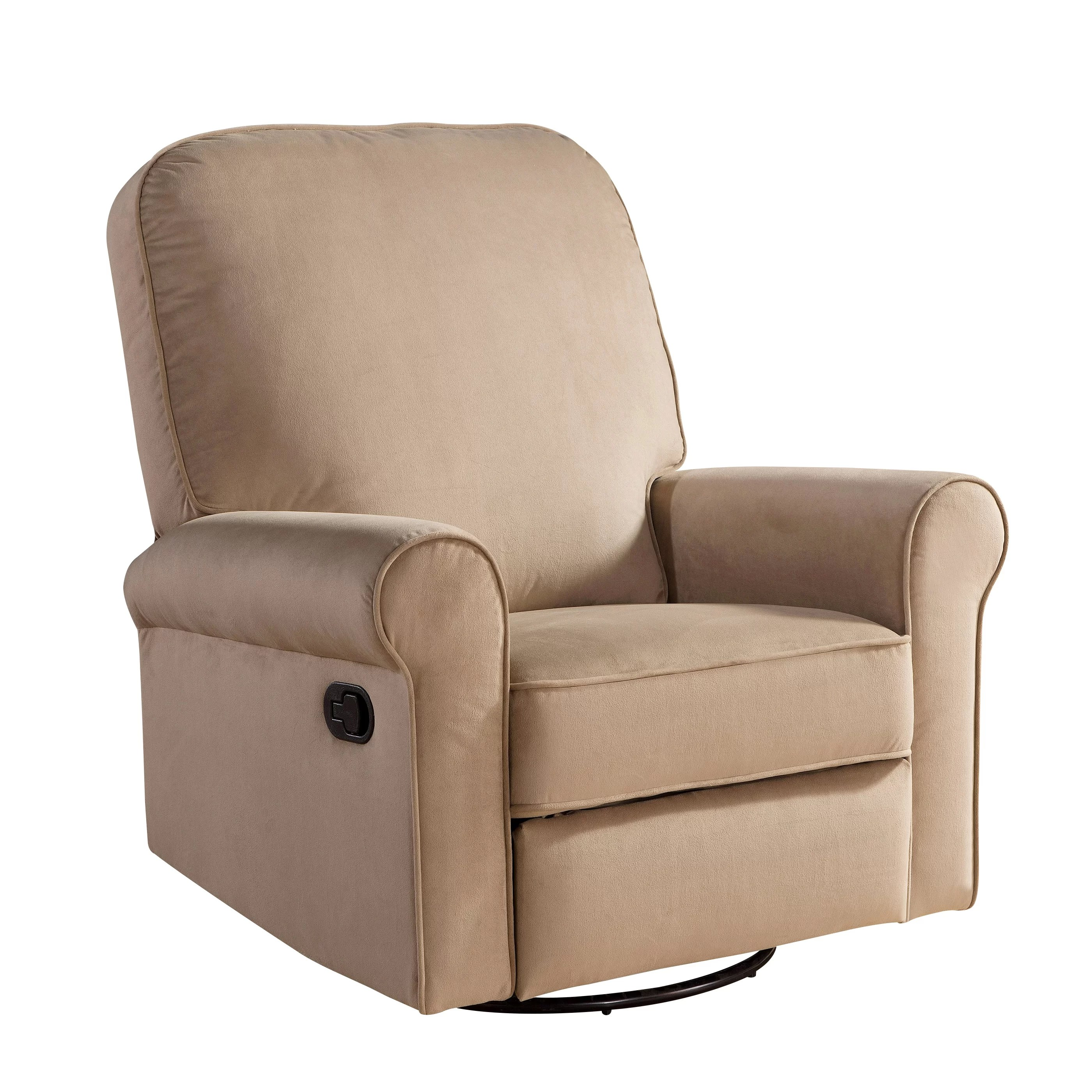 abbyson living thatcher fabric rocking chair in beige steel folding with tablet arm mathers swivel glider recliner wayfair