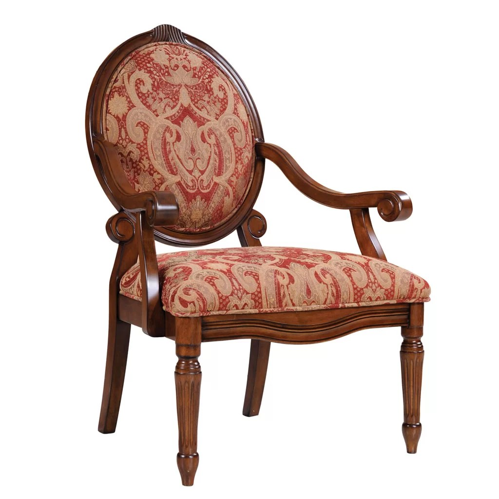 Oval Back Chair Madison Park Oval Back Arm Chair In Royal Burgundy