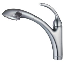 Single Hole Kitchen Faucet With Pull Out Spray Hampton Bay Cabinets Handle