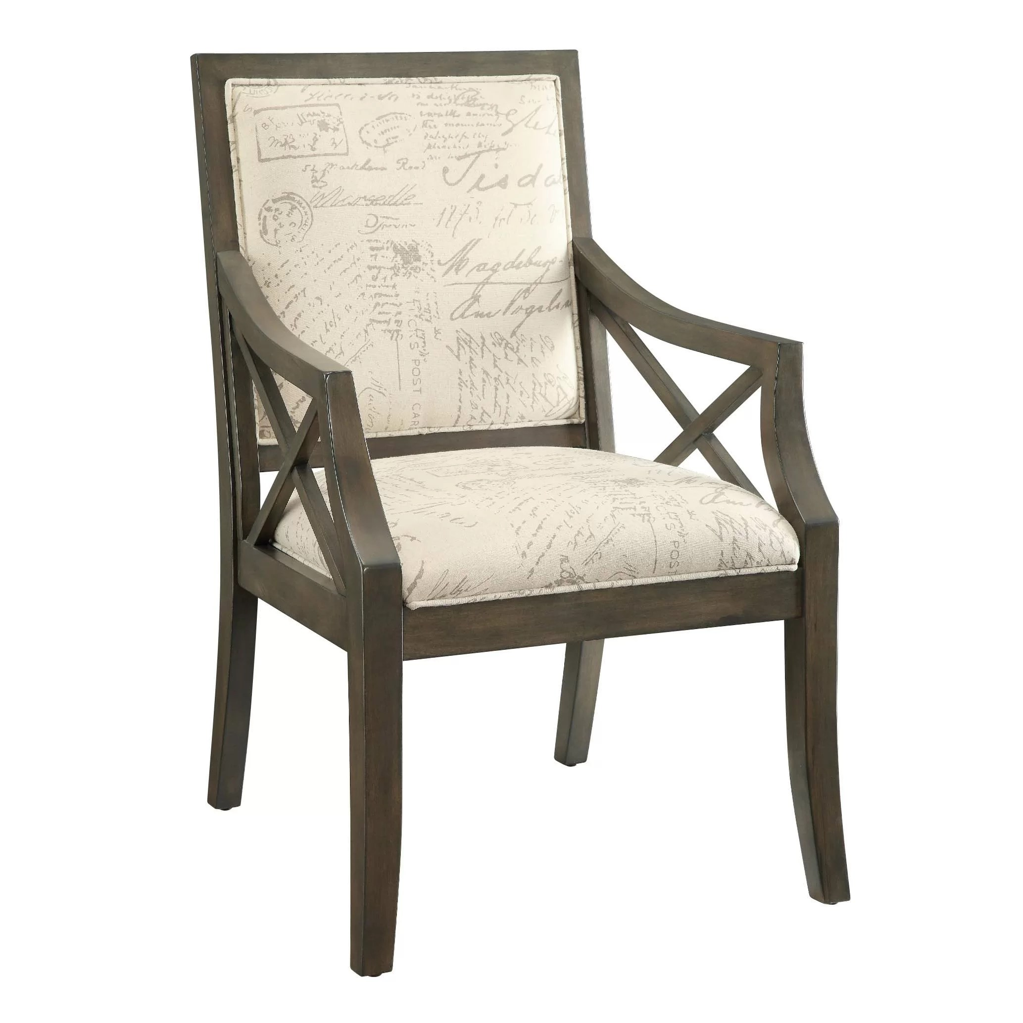 French Script Chair Driftwood French Script X Arm Chair Wayfair