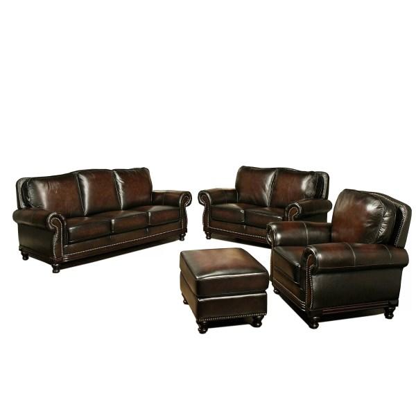 Abbyson Living Leather Barclay Ottoman &