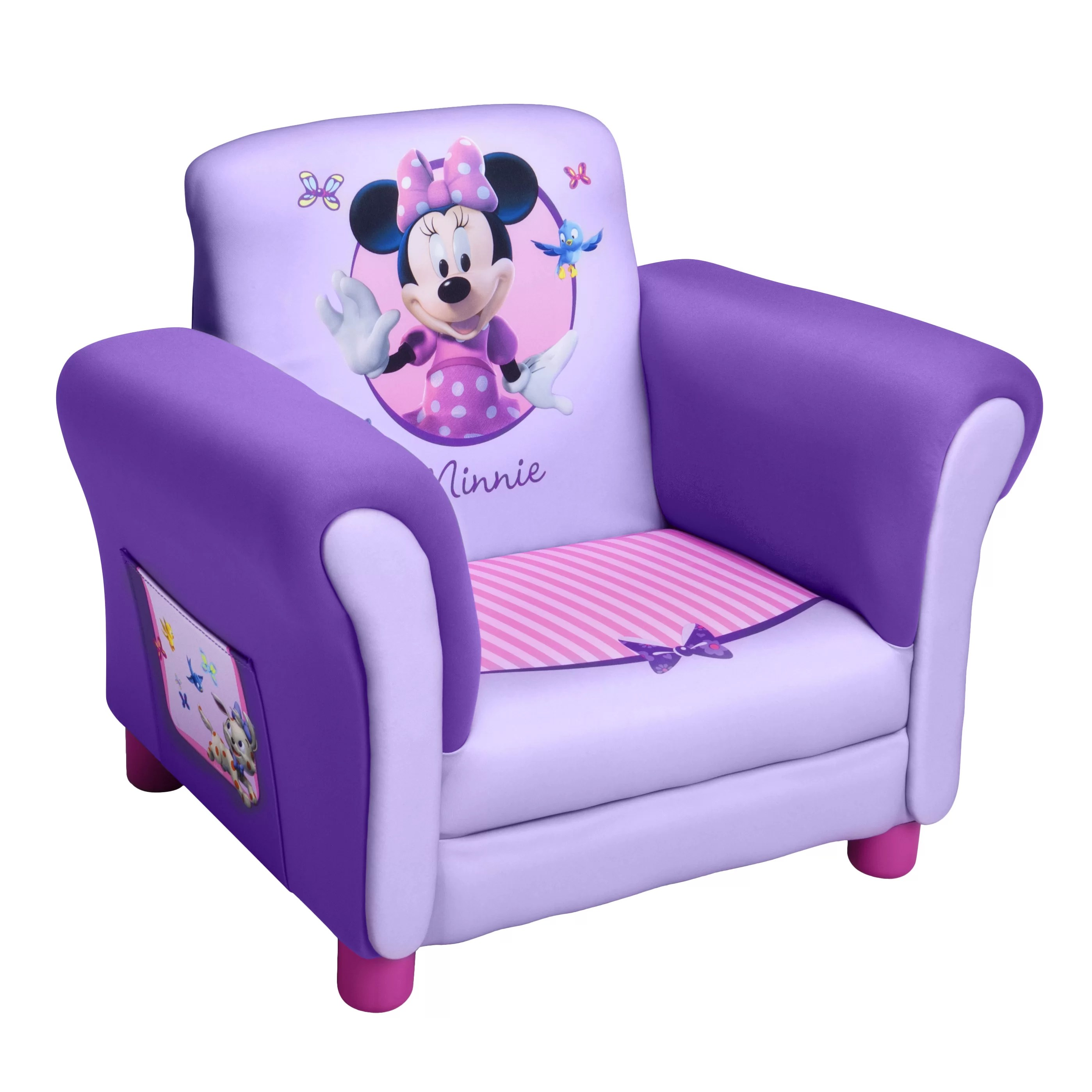 minnie mouse upholstered chair blue lounge delta children disney kids club