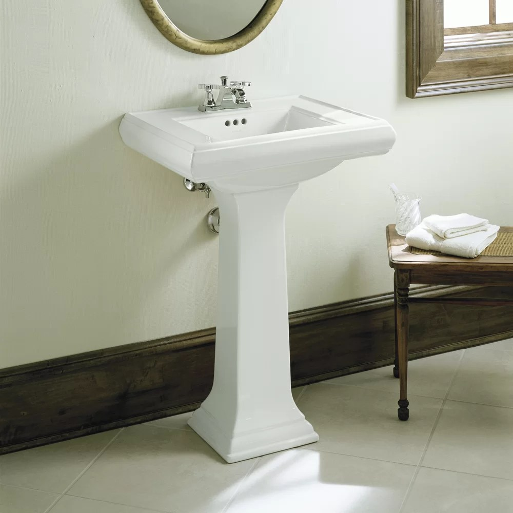 Kohler Memoirs Classic 24 Pedestal Bathroom Sink with 4 Centerset Faucet Holes  Reviews  Wayfair