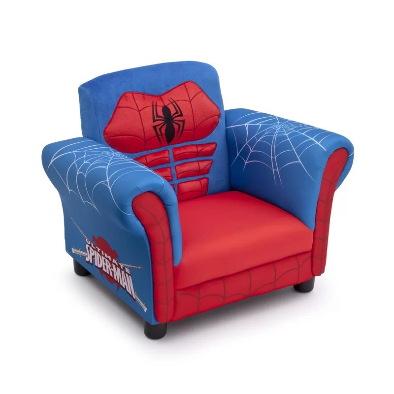 spiderman table and chairs diy lounge chair covers delta children spider man kids upholstered club reviews wayfair