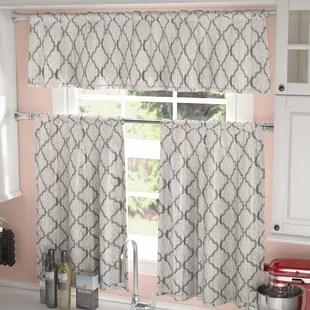 kitchen curtain elkay sinks three piece curtains wayfair blocker 3 set