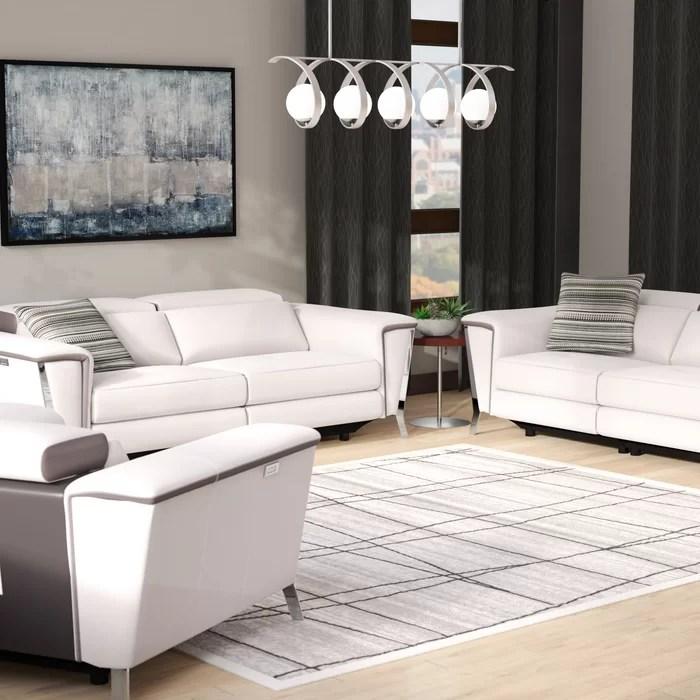 modern leather living room sets best design photos wade logan baccus reclining 3 piece set wayfair ca