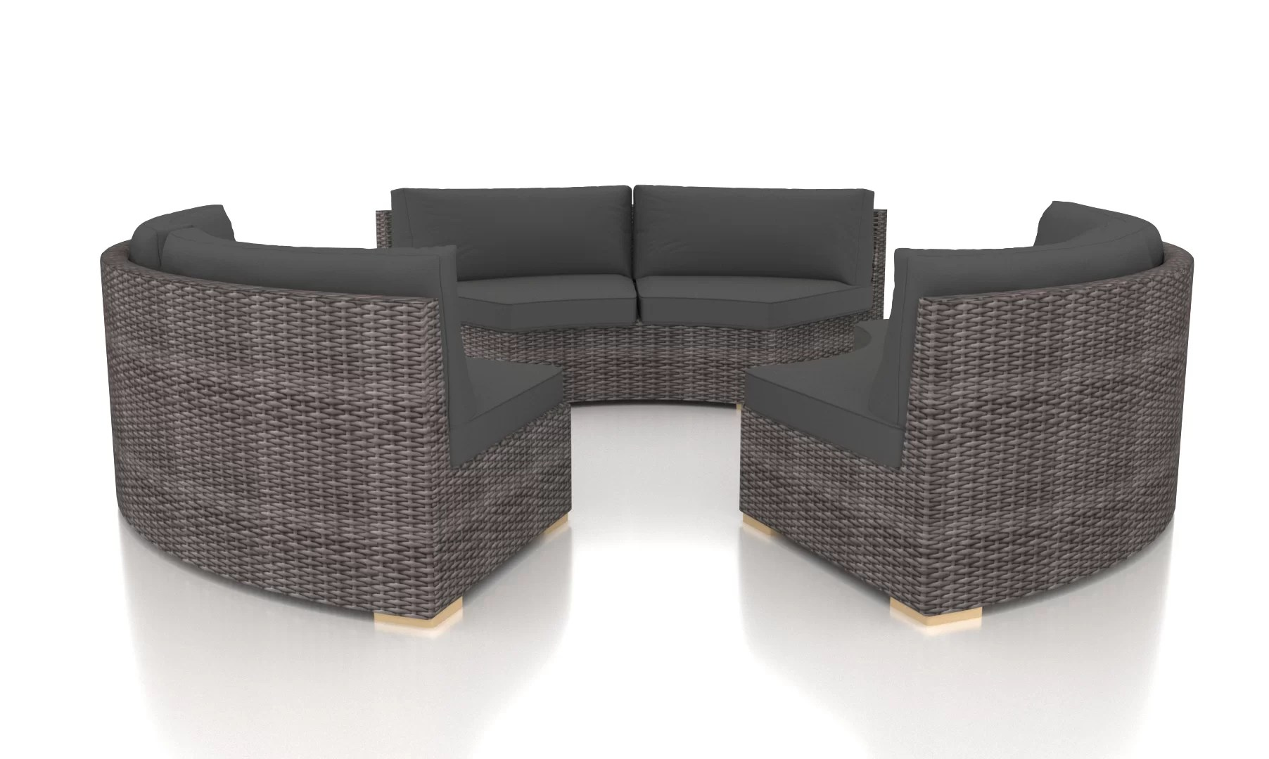 Rattan 3 Piece Sofa Holcomb 3 Piece Rattan Sofa Seating Group With Sunbrella Cushions