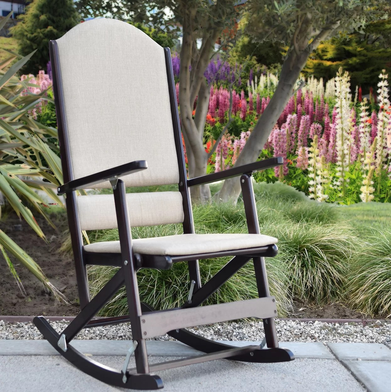 folding rocking chair wood with leg rest india wildon home cedar creek solid chairs reviews wayfair