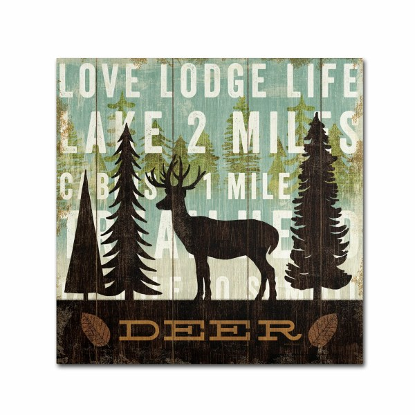 Trademark Art 'simple Living Deer' Michael Mullan Graphic Wrapped Canvas &