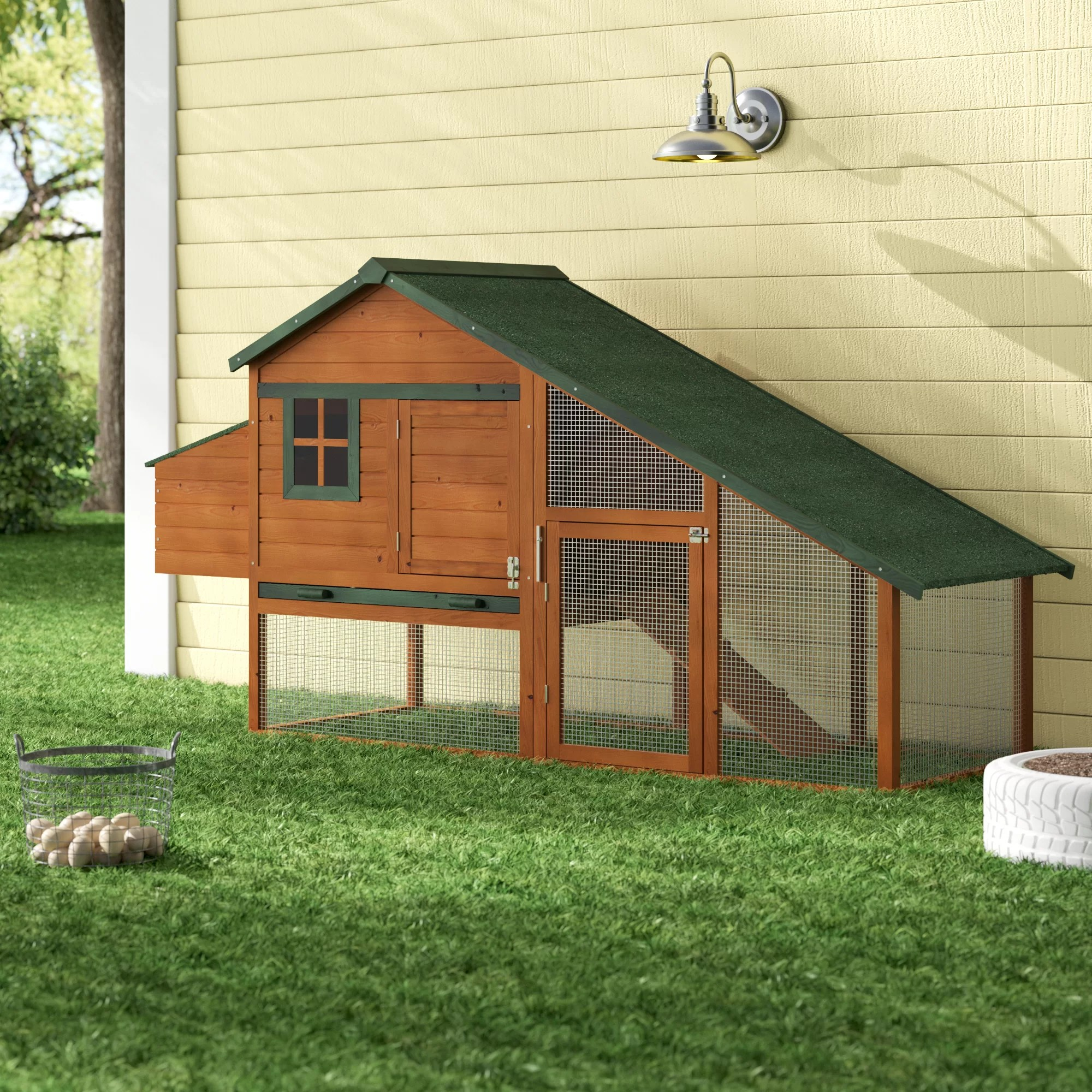 tucker murphy pet hentz wooden backyard slant roof hen house chicken coop reviews wayfair