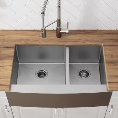 36 Kitchen Sink How To Organize My Khf203 Kraus L X 21 W Double Basin Farmhouse With Drain Assembly