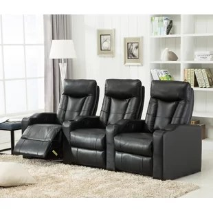 angus bonded leather reclining sofa anfibio bed theater seating you'll love | wayfair