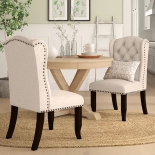 upholstered dining room chairs with arms wholesale tables and beige nailhead kitchen you ll love wayfair calila side chair set of 2