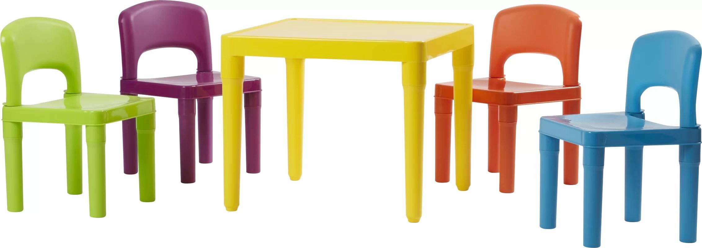 plastic table and chair set scan design chairs viv 43 rae jabari kids 5 piece
