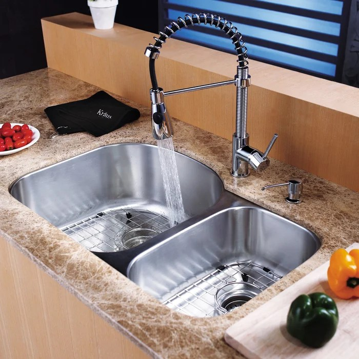 dispenser kitchen island lanterns kraus 31 5 l x 20 w double basin undermount sink set with faucet and
