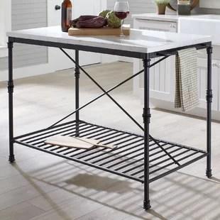 kitchen island marble top houzz outdoor kitchens modern contemporary allmodern castille prep table with