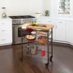 Kitchen Island Stove Yellow Chairs With Top Wayfair Ondina Bamboo Chef S Table Cart Wood