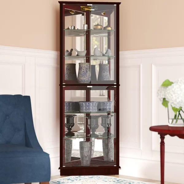 Andover Mills Randalstown Lighted Corner Curio Cabinet
