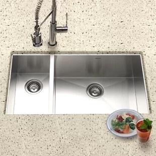 30 kitchen sink top rated stoves inch wayfair contempo 33 l x 18 w zero radius undermount double bowl 70