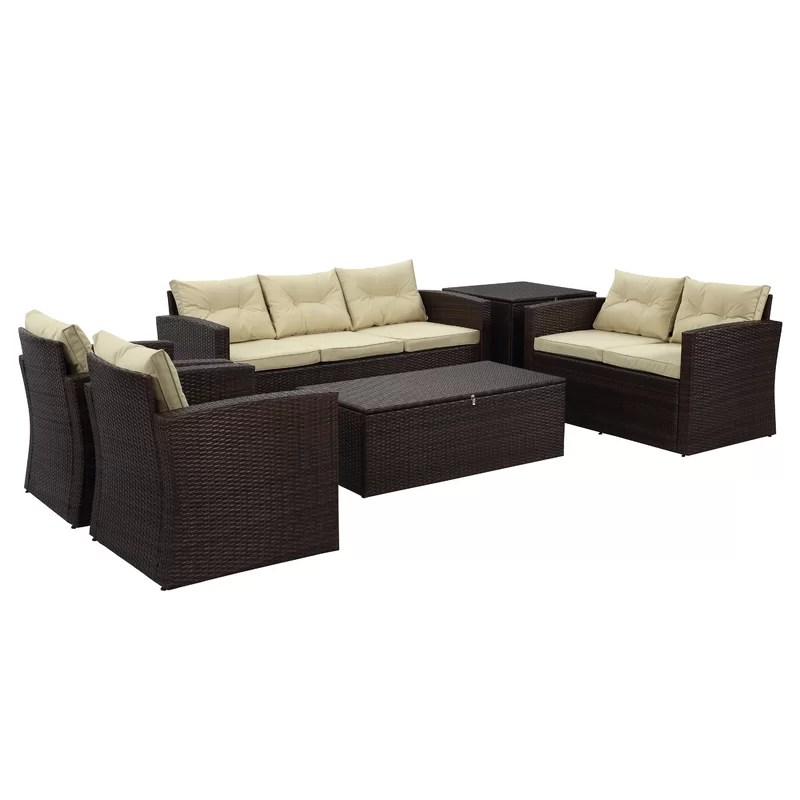 cushion sofa set rattan corner for garden arlington 6 piece with cushions reviews birch lane