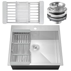 Single Bowl Stainless Kitchen Sink Counter Organization Ideas Akdy 25 X 22 Drop In Top Mount Steel Ks0095 W Adjustable Tray And Drain Strainer Kit