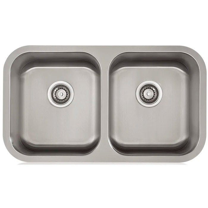 stainless steel undermount kitchen sinks american classics cabinets lenova apogee 32 25 l x 9 w equal double sink
