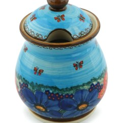 Kitchen Pottery Canisters Tiles Polmedia Polish Field Of Butterflies With Lid Canister