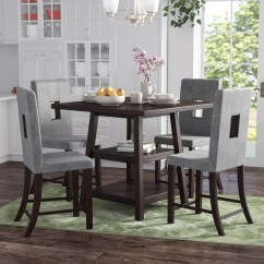 Red Counter Height Dining Chairs Room Upholstered Barrel Studio Burgess 5 Piece Set Reviews Wayfair