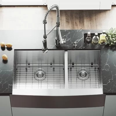 Double Farmhouse Amp Apron Kitchen Sinks Youll Love Wayfair