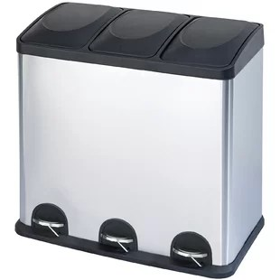 kitchen trash bin islands carts cans you ll love wayfair ca stainless steel 3 compartment 16 gallon can