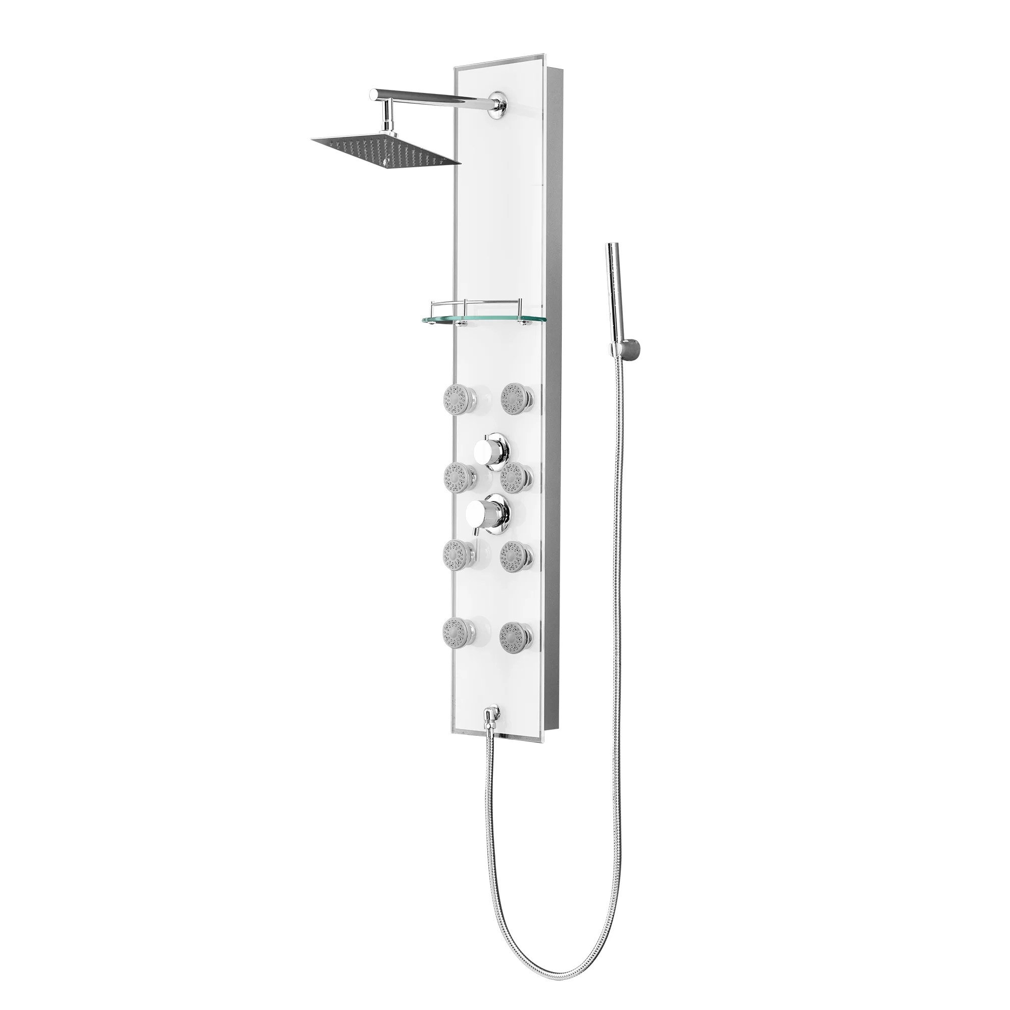 Luxier Tempered Glass Multi-Function Shower Tower Panel