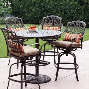 bar height outdoor chairs plastic tables and patio sets wayfair lebanon 5 piece dining set with cushions