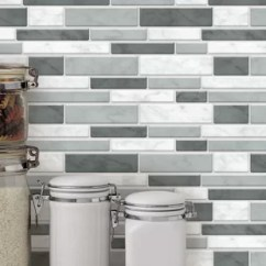 Grey Kitchen Tile Rolling Cart Light Backsplash Wayfair Ca 11 1 X 3 Pvc Peel Stick Mosaic In