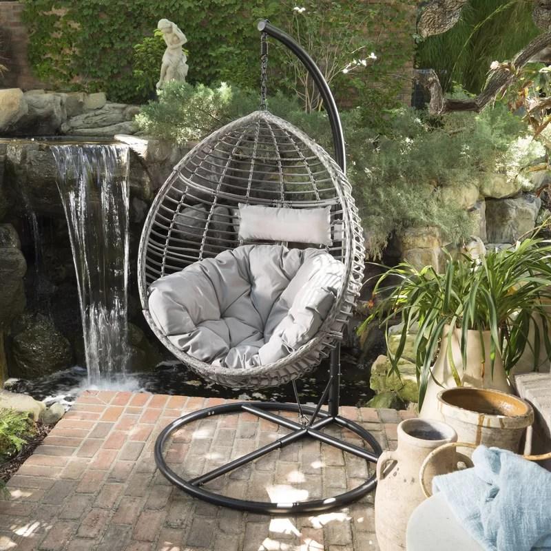 swing chair with stand outdoor best posture in brayden studio weller wicker basket