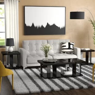 3 piece living room table set rugs for area modern contemporary coffee sets you ll love wayfair dicken
