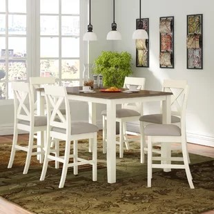 kitchen nook table set wall shelving units dinettes breakfast nooks you ll love wayfair nadine 7 piece counter height dining
